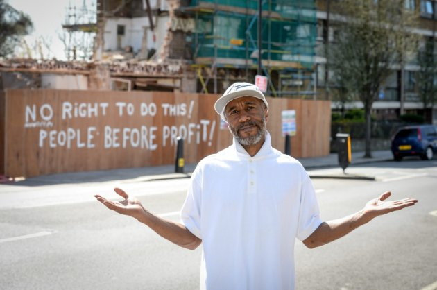 "Outside his local ....Red Dwarf star Danny John Jules posed up outside of the now demolished Carlton Tavern, Maida Vale, London. (file photo) See SWNS story SWPUB; The local council have now ordered builders to rebuld tyhe pub brick by brick. A landlady returned to her pub after she was told to close for an ""inventory"" to find demolition crews have DESTROYED the historic building. Developers ripped through Carlton Tavern the day before it was to become a listed building, according to councillors, after they had been DENIED planning permission."
