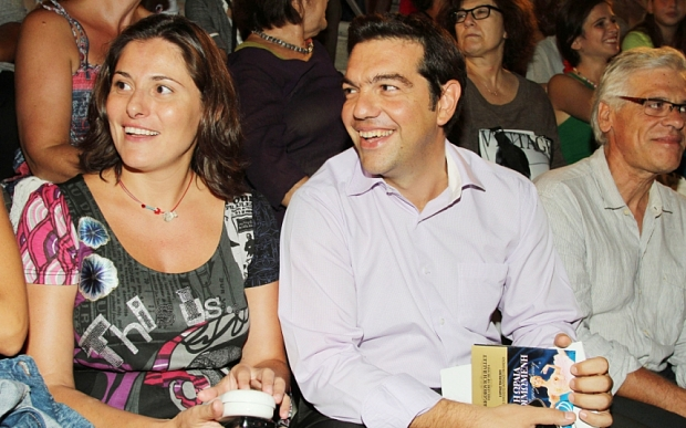 Greek prime minister Alexis Tsipras and his partner Peristera Batziana.  MUST CREDIT : Eleni Poupoulidou / NDP